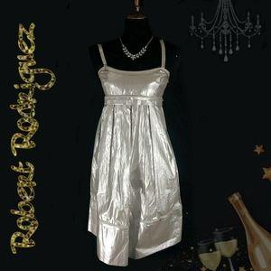 Silver lamé holiday dress
